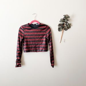 Zara Matte Sequin Cropped Long Sleeve Size Small